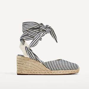 Zara wedges with striped ties
